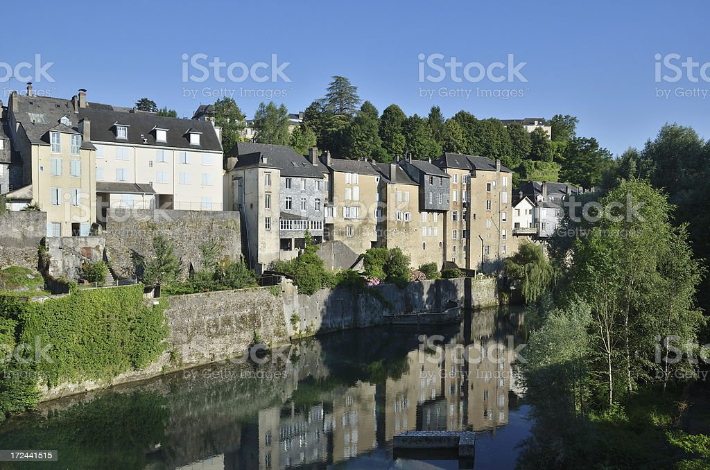 Summer view of the French town Oloron-Sainte-Maria royalty-free stock photo