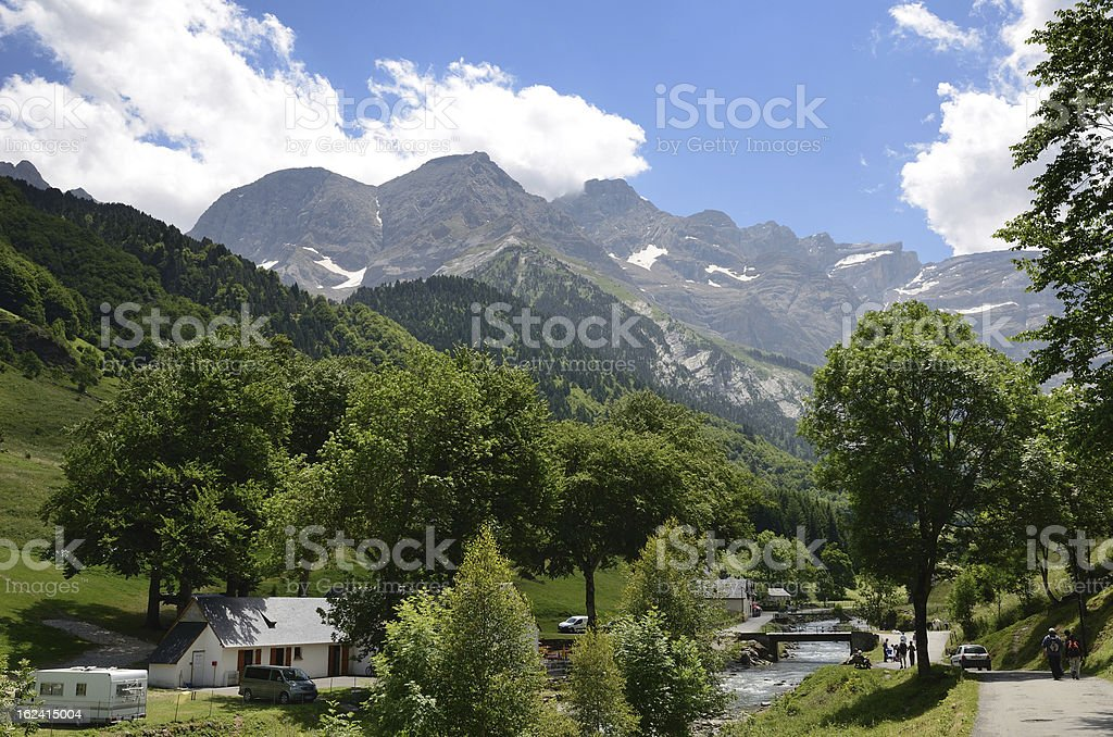 Summer view of the village Gavarnie royalty-free stock photo