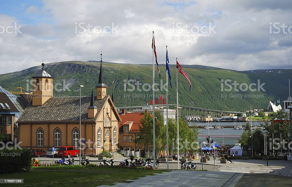 Summer view of Tromso stock photo