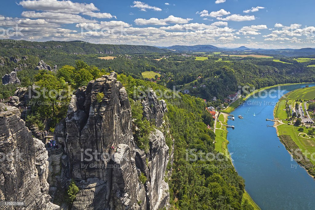 Summer view on river Elbe, Germany stock photo
