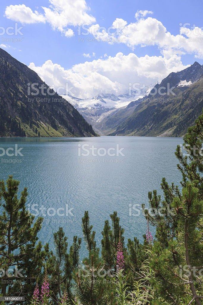 Summer view on Schlegeis reservoir and Zillertaller alps, Tirol, Austria royalty-free stock photo