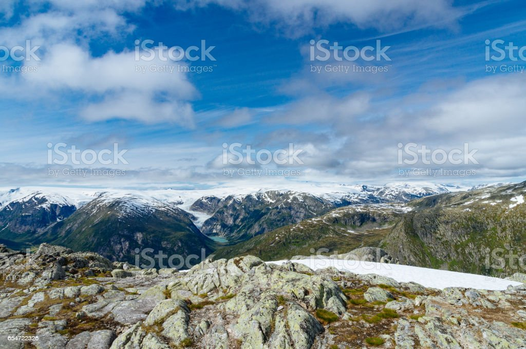 Summer view on snowy mountains and glaciers stock photo