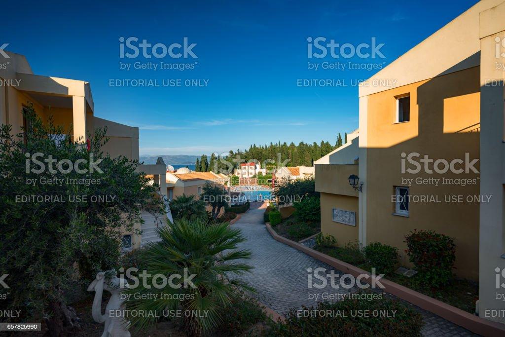 Kavos, Greece - May 23, 2016: Summer walk along the narrow streets of Kavos stock photo