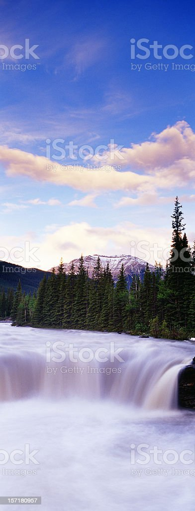 Summer Waterfall in Mountains royalty-free stock photo