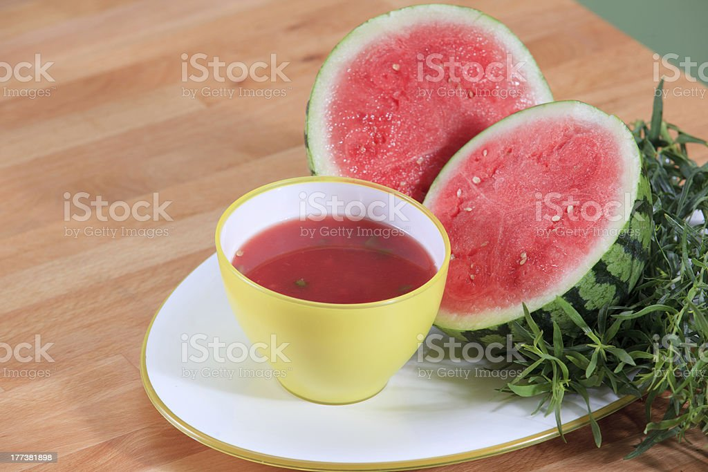 Summer watermelon soup with tarragon royalty-free stock photo