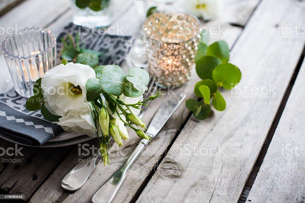 summer wedding table decoration stock photo