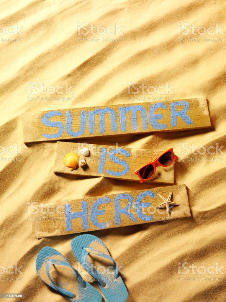 Summer with Flip Flops and Sunglasses on the Beach royalty-free stock photo