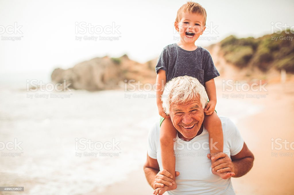 Summer with my grandpa stock photo