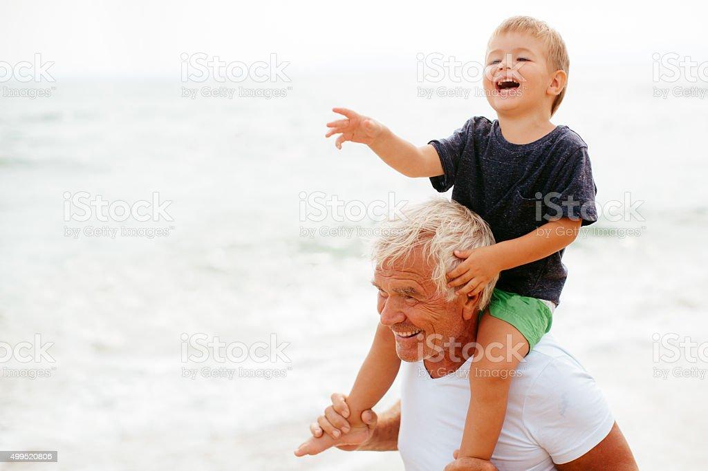 Summer with my grandpa stock photo