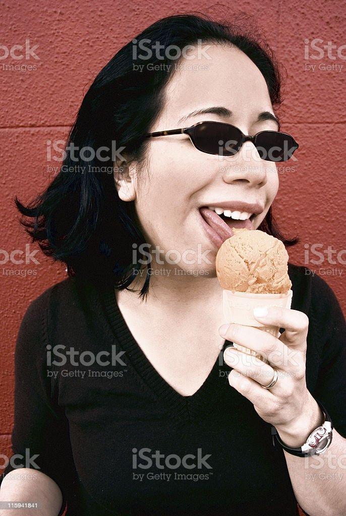 Summer: Woman w/ Ice Cream Cone stock photo