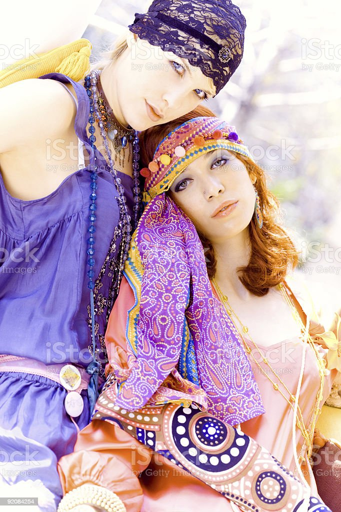 summer women in colorful clothes royalty-free stock photo