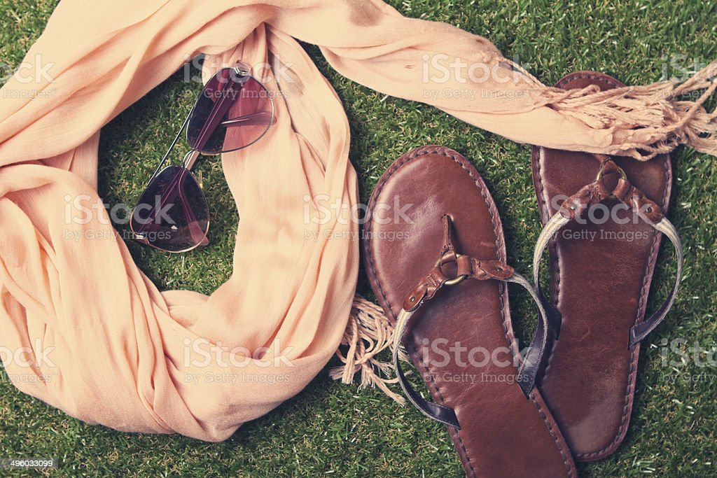 Summer womens fashion accessories on grass background stock photo
