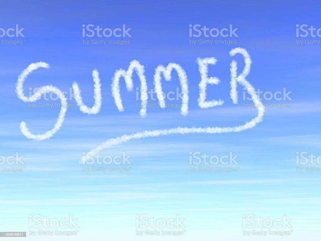 Summer word written with clouds royalty-free stock photo