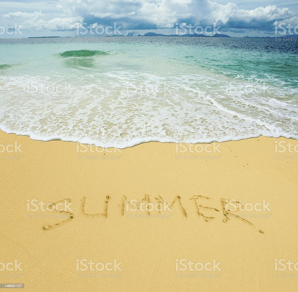 summer written in a sandy tropical beach royalty-free stock photo