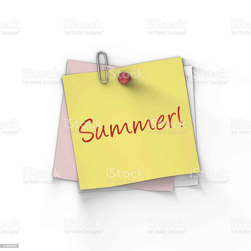 Summer written on sticky note royalty-free stock photo