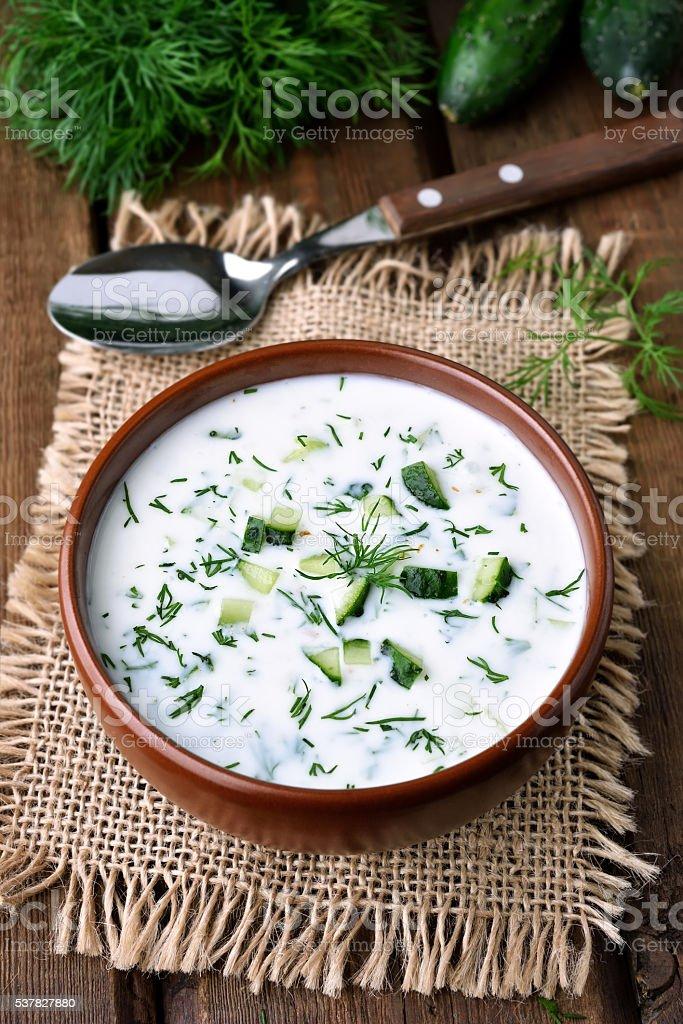 Summer yogurt soup stock photo