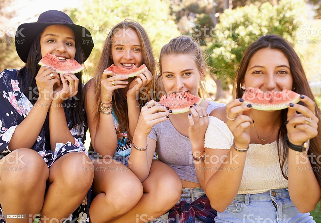 Summer yumminess with friends stock photo