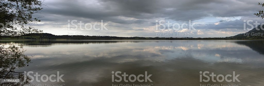 Summerevening at the Bannwaldsee in Germany (Panorama) stock photo