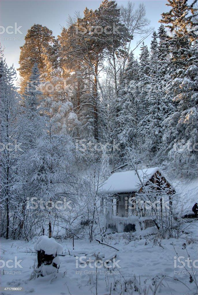 Summerhouse in winter royalty-free stock photo