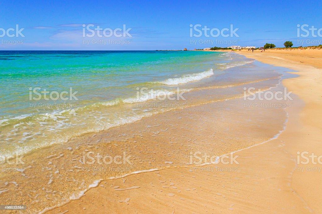 SUMMER.Ionian coast of Salento:beach at Torre Pali (Lecce). ITALY (Apulia) stock photo