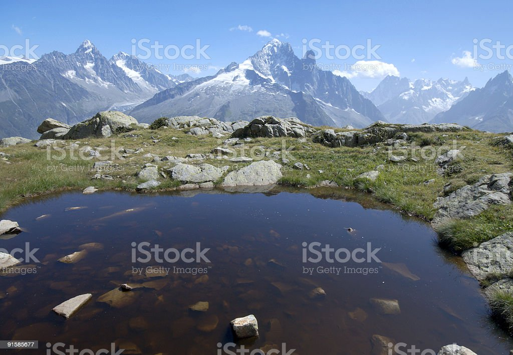 Summers view over a natural pool of Grands Montets Glacier royalty-free stock photo