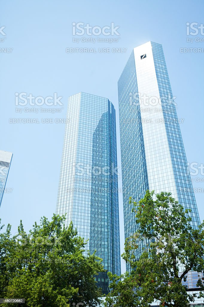 Summershot of Deutsche Bank skyliners stock photo