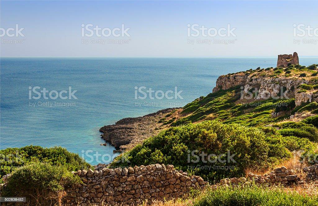 SUMMER.Stones of Apulia:  Uluzzo watchtower (Lecce). -  ITALY (Salento) - stock photo