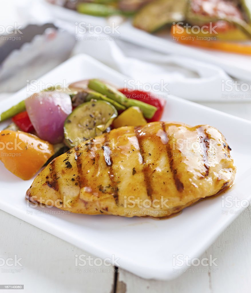 summertime barbecue chicken with vegetables. royalty-free stock photo