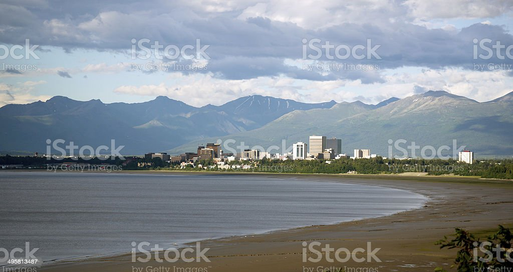 Summertime Bootleggers Cove Anchorage Alaska United States North stock photo