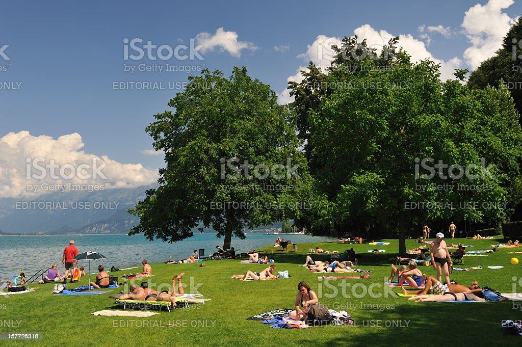 Summertime by Lake Thun stock photo