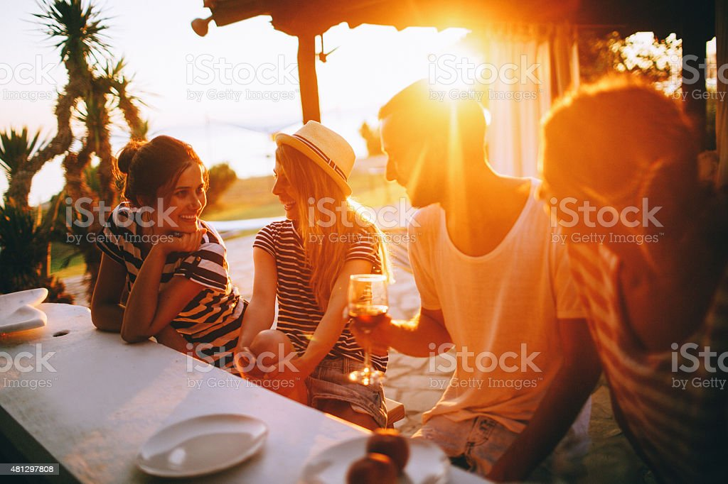 Summertime dinner party stock photo