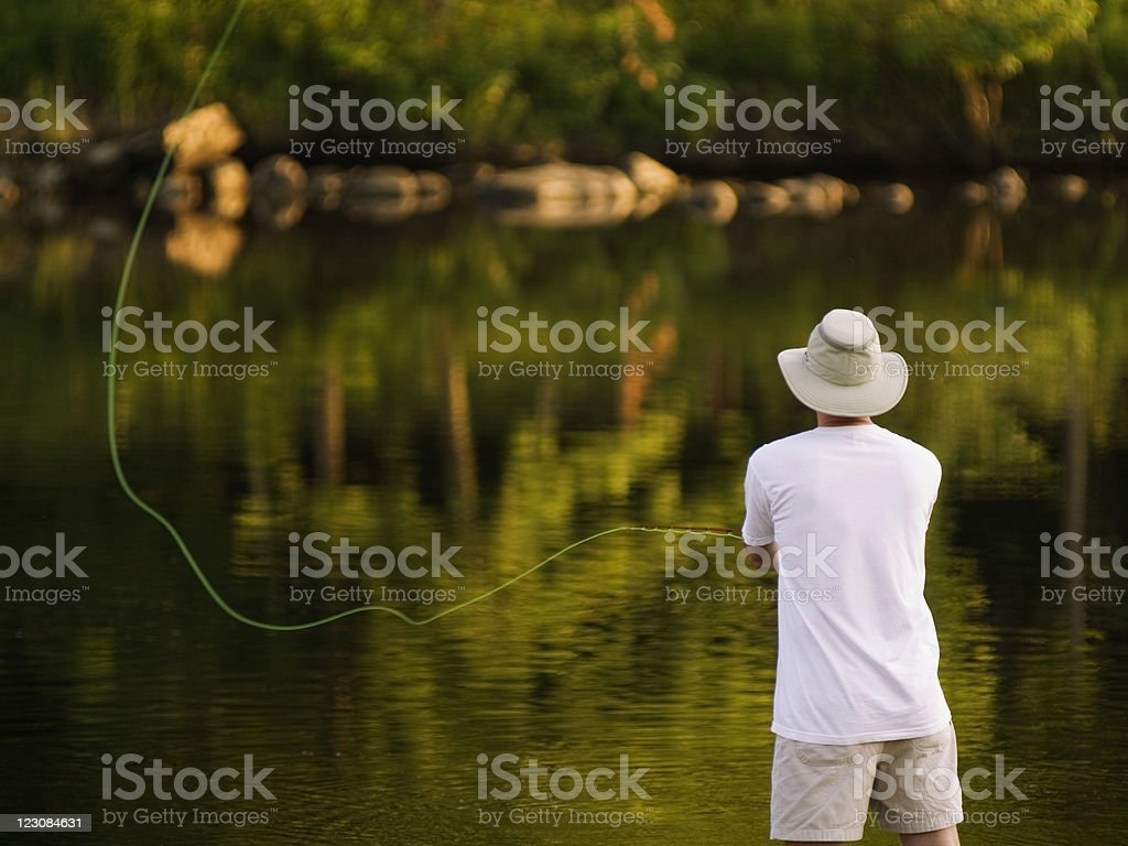 Summertime Fly Fishing royalty-free stock photo