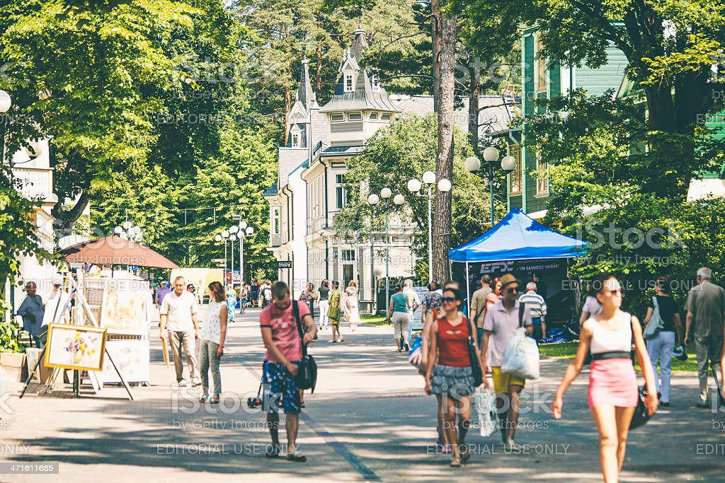 Summertime in small town. stock photo