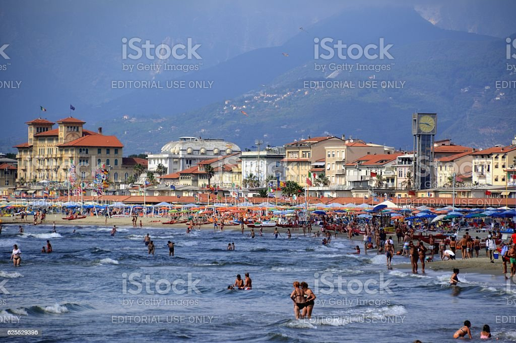 Summertime in Viareggio, Tuscany, Italy stock photo