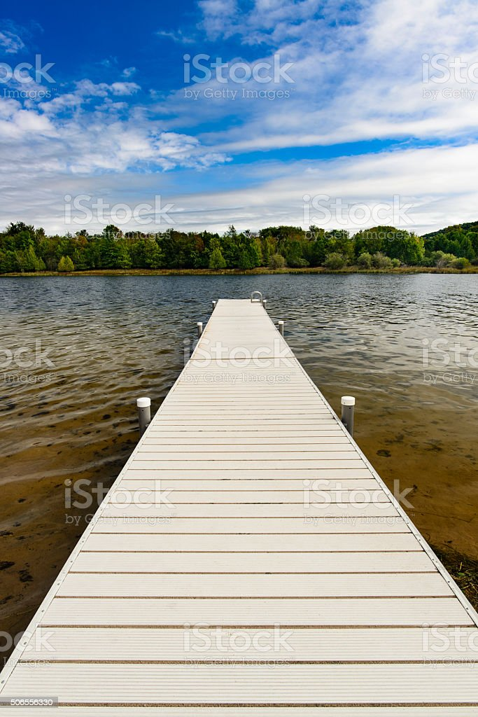 Summertime Lake and Dock stock photo
