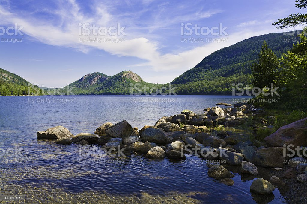 summertime lake in maine stock photo
