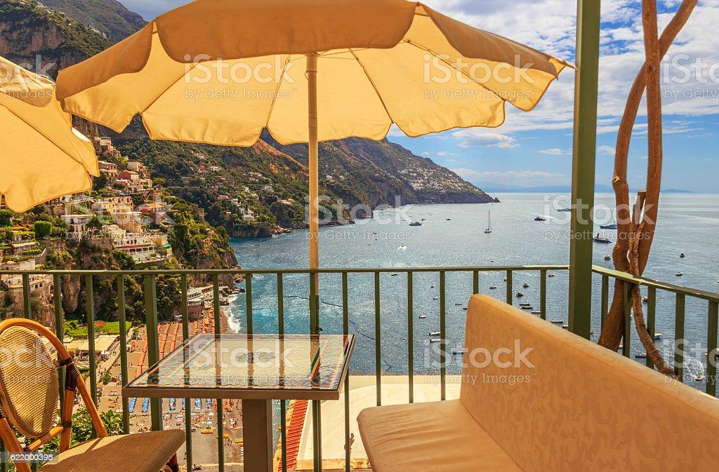 Summertime seascape. Amalfi coast: Positano beach.Italy (Campania). stock photo