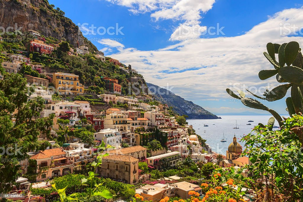 Summertime seascape. Amalfi coast: Positano town.Italy (Campania). stock photo