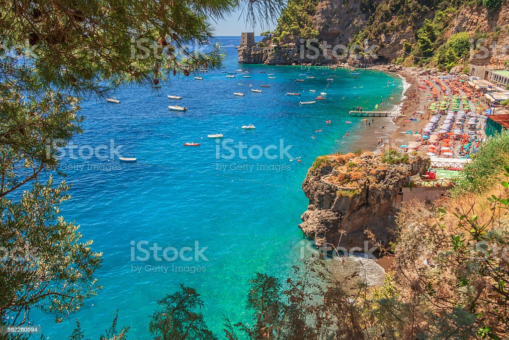 Summertime sescape: Amalfi Coast (Costiera Amalfitana). stock photo