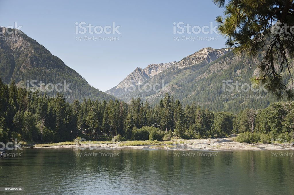 Summertime Wallowa Lake and Eagle Cap Wilderness stock photo