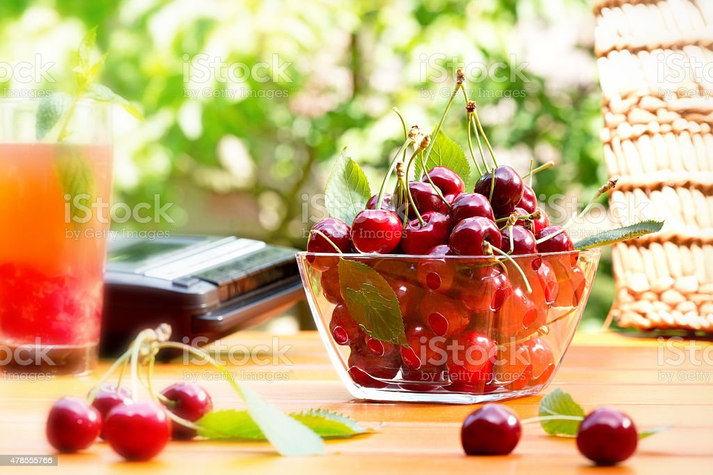 summertime with red cherry stock photo
