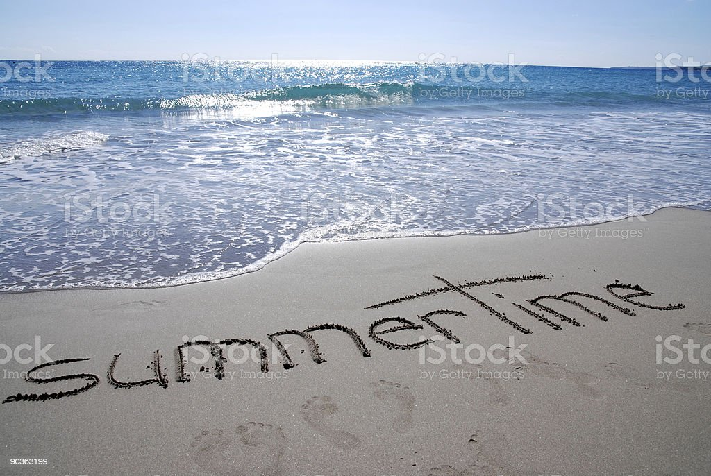 summertime writing on beach royalty-free stock photo