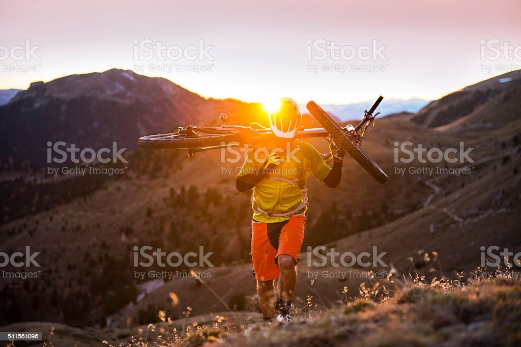 summit by mountain bike 3940 meter directional stock photo