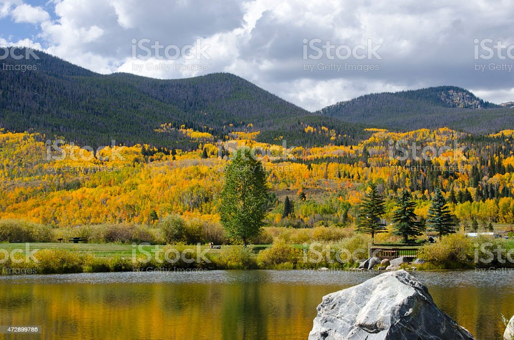 Summit County Autumn Colors and Lake stock photo