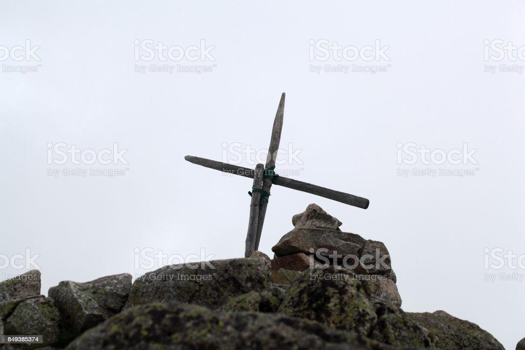 Summit cross at the High Tatra stock photo