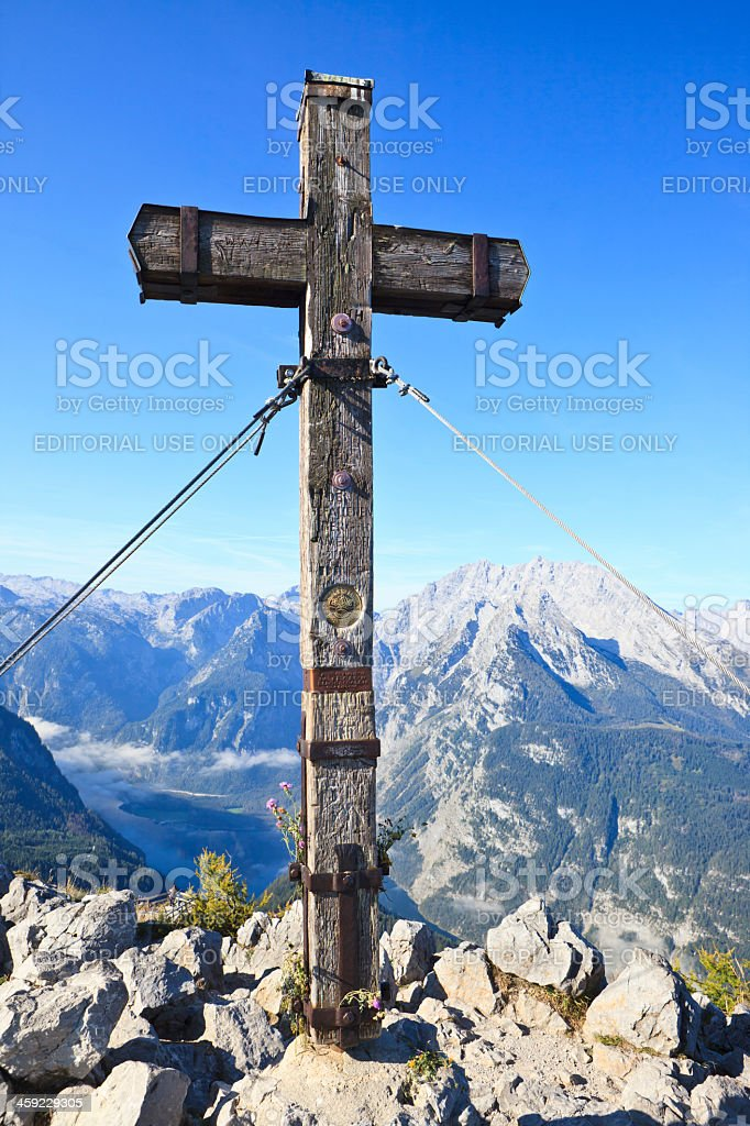 Summit Cross on the mountain Jenner with view to Watzmann royalty-free stock photo
