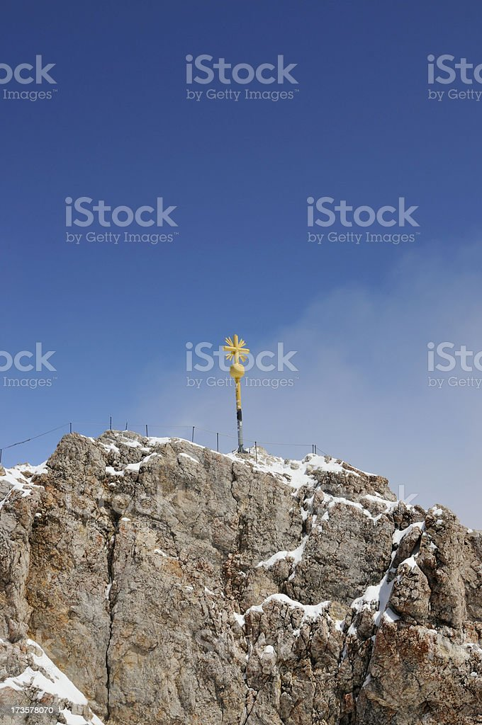 summit cross on zugspitze royalty-free stock photo