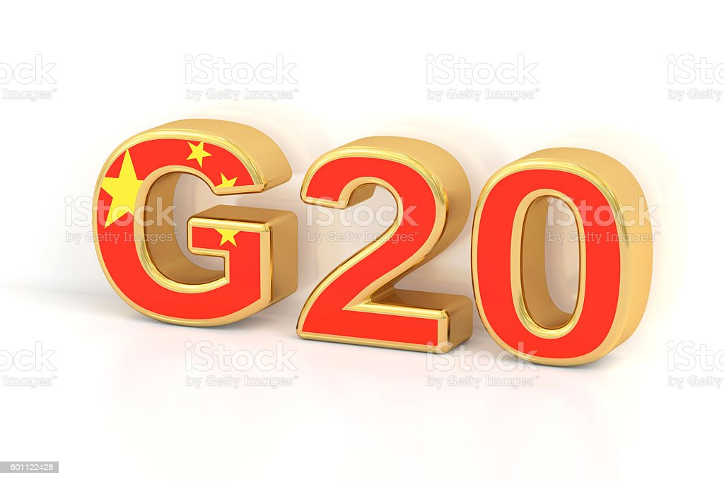 Summit G20 concept. Chinese G20 meeting, 3D rendering stock photo