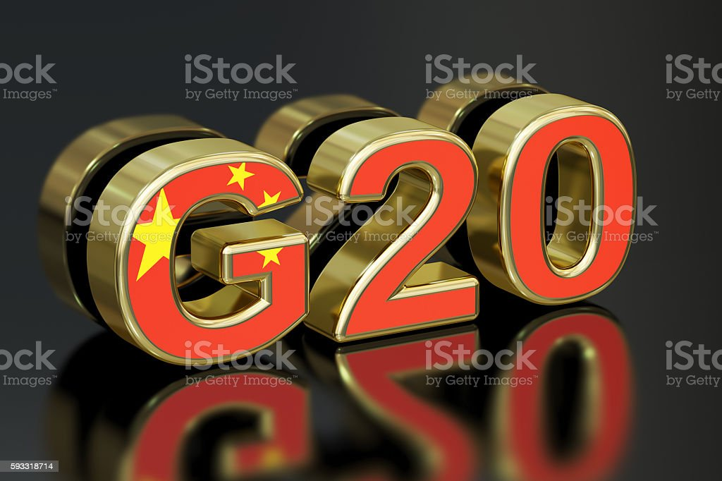 Summit G20 in China meeting concept, 3D rendering stock photo