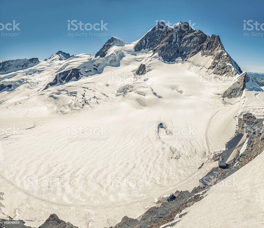 Summit of Jungfrau and Jungfraujoch train station, Switzerland - VII royalty-free stock photo